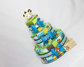 Baby Diaper Cake Zoo Animals - Choose Gender and Animal - Shower Gift or Centerpiece