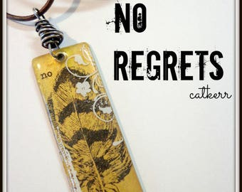 No Regrets Brass and Resin Pendant