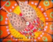 Stamped Hand Forged Copper Earrings, Bohemian Chandelier Earrings, Seed Bead Earrings, Hammered Tear Drop Earrings, Copper Jewelry