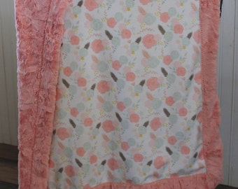 Baby Blanket, Ships Today- Minky baby blanket, Floral minky baby blanket, Minky blanket 30 x 39