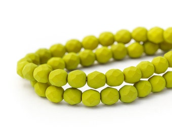 Fire Polished Chartreuse Saturated Matte Round Spacer Beads, Lime Green Opaque Faceted Czech Glass, 6mm x 25pc (0017)