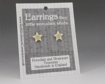 Star stud earrings tiny yellow porcelain twinkle star gift
