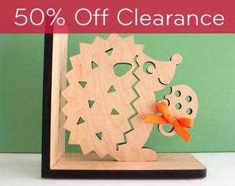 SALE! CLEARANCE 50% OFF! Hedgehog Bookend- Wood Animal Bookends Modern Baby Nursery Kids