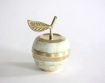 Vintage Mother of Pearl and Brass Apple Box