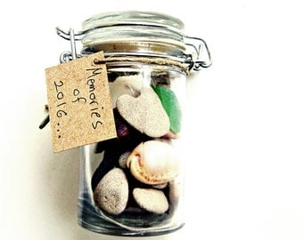 Unique Christmas Card, Beach Finds n a Jar, Diy Pebble Art, Beach finds Collection in a Jar, New Years Card, Beach Theme Card, pebbles, sea