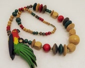 HolidaySale Vintage Colorful Chunky Wood Beaded Parrot Statement Necklace