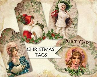 Vintage Victorian Christmas Gift Tags digital collage sheet (460) children Buy 3 get 1 bonus