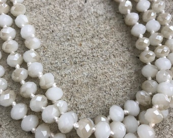 White Extra Long Wrap Necklace