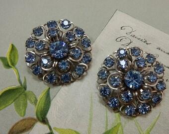 Large Blue Rhinestone Cluster Clip On Earrings  OV28