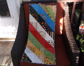 Primary colors table runner stripes quilted runner
