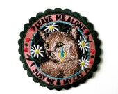 JUST me and my CAT  Pommecopine studio Embroidery patch