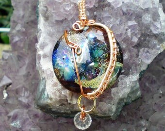 Wire Wrapped Lampwork Lentil Pendant With Glass Drop
