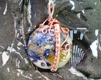 Wire Wrapped Handmade Lampwork Focal in Ivory with Silver and Dichroic