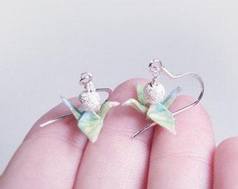 Winter Sale Tiny Origami Crane Earrings  Sterling Silver  Lime Sherbert