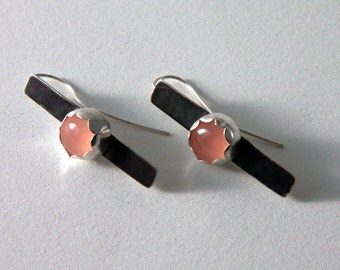 oxidized sterling silver earrings with pink chalcedony