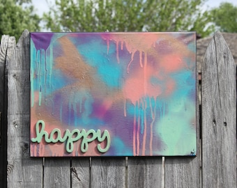 HAPPY colorful original abstract painting spray paint mixed media art