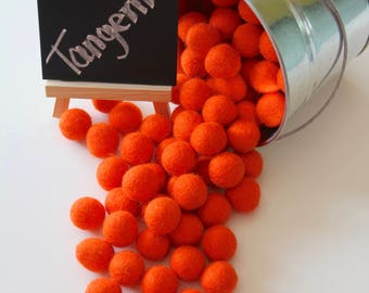 Felt Balls- Tangerine Orange- 20mm-Pk of 20
