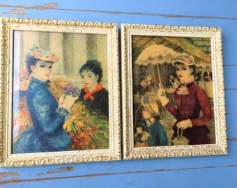 Mid-century Huldah Framed Prints Woman with Parasol and Women at a street flower market