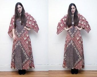 FREE SHIPPING Vintage Indian Cotton Batik Hippie Angel Sleeve Kimono Kaftan Boho Maxi Dress 70's