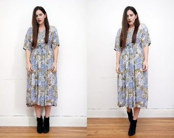 Vintage Floral  Indian Trapeze Smock Maxi Dress 70'S
