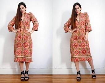 Vintage Indian Cotton Batik Hippie Angel Sleeve Kimono Kaftan Boho Dress 70's