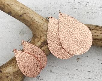 Rose Gold Metallic Leather Teardrop Earrings