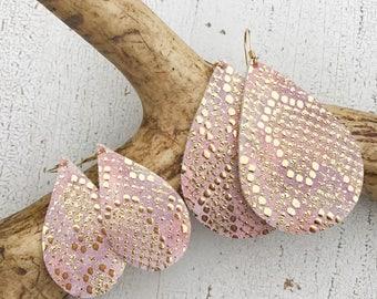 Pink Bombshell Leather Teardrop Earrings