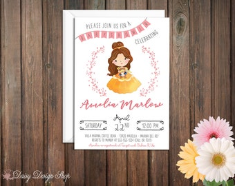 Baby Shower Invitation - Princess Belle and Laurel in Watercolor Style - Beauty and the Beast
