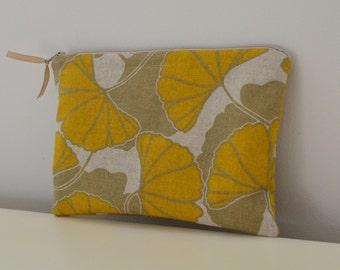 Zipper Pouch in Ginkgo - mustard yellow leaf cosmetic bag travel case diaper bag organizer medium  ipad mini kindle toiletry gift set