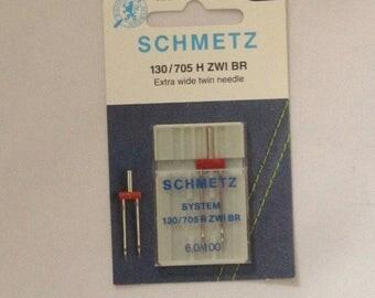 Brand new Schmetz Extra wide twin needle--size 6,0/100