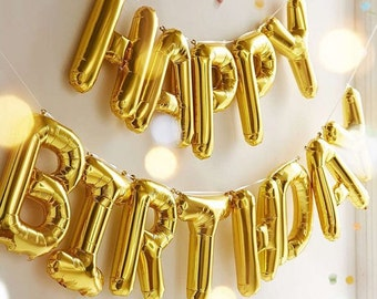 Happy Birthday Letter Balloons,Happy Birthday balloon banner,Happy Bday balloons,Birthday Decorations,Gold Letter Balloons,Mylar Balloons