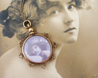 AntiqueFrench double sided photo locket on 20 inch gold fill chain