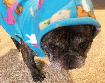 French Bulldog Frenchie Turquoise Doggies Pullover Fleece Hoodie