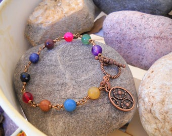 Antique Copper Wire Wrapped Multi Color Beaded Boho Style Link Bracelet
