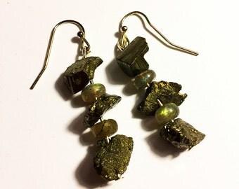 Pyrite Crystal & Labradorite Gemstone Earrings