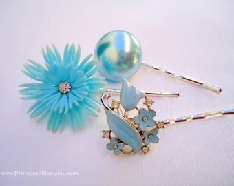 Vintage earrings hair pins - Light sky powder blue flower enamel bouquet simple pearl plastic jeweled embellish decorative hair accessories