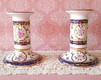 Regal Rose Gilded Cobalt, Painted Candlestick Holders, Set of 2