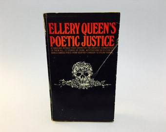 Vintage Mystery Book Ellery Queen's Poetic Justice 1970 Paperback Anthology