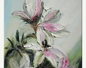 50% off Lilies 18 x 24 Flowers Original Oil Painting Palette Knife White Modern Calm Pink Green Textured ART by Marchella