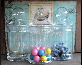 Vintage Covered Apothecary Jar / Princess Birthday Candy Bar / Wedding Candy Bar Buffet