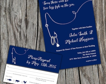 Two Less Fish in the Sea, Lake, Ocean, Wedding Invitations and RSVP/Reply Cards DIY Digital or Printed