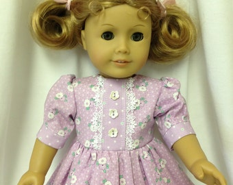 Purple Dress with purple and white flowers made to fit American Girl dolls