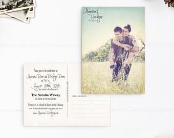 "Post card Wedding Invitations, Boho wedding invite, Wedding invitations, 5x7 - the ""Marissa"""