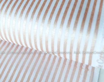 Stripe In Rose Gold Sparkle Cotton, Metallic print Fabric, Quilting Weight Cotton,Apparel Fabric, Modern print, Riley Blake Designs