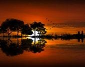 Guitar, Landscape, Sunset,Red Sky, Fine Art, Music Artwork, Photographic Image, Musical Instrument, Guitar Icon