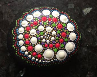 Set of 2 Colorful GLOW In THE DARK  Mandala painted raised dots stone River rock art Alchemy Stones