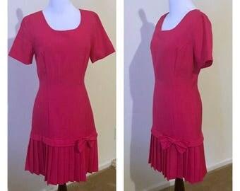 Spring pleated dress pink vintage