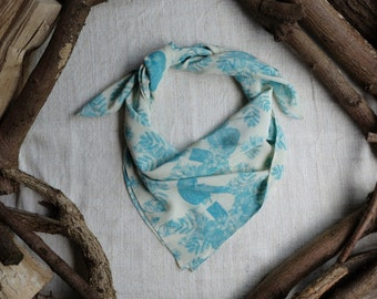 Square Silk Scarf in Parrot Print // Silk Scarf - Printed Scarf - Square Scarf - Silk Crepe de Chine - Gifts for Her
