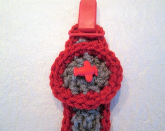 Pacifier holder, binki holder, hand crocheted, airplane, gray and red