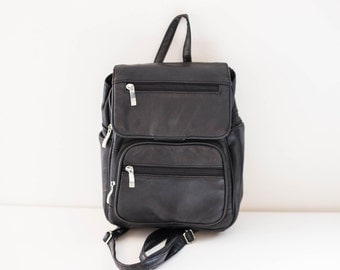 black leather shoulder satchel cargo backpack bag